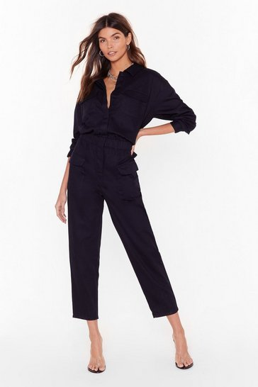 Womens Black It'll Work Out Button-Down Denim Boilersuit
