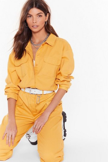 Ginger It'll Work Out Button-Down Denim Boilersuit