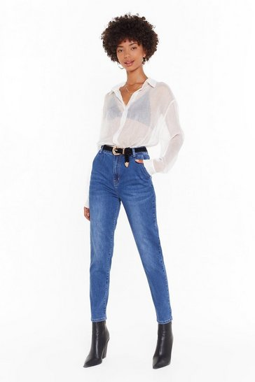Blue Relaxed High Waisted Mom Jeans