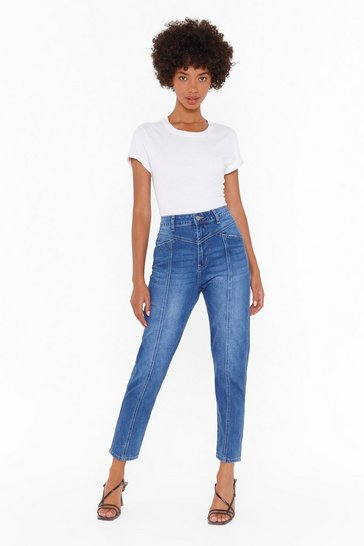 Womens Blue Nothing to Seam Here High-Waisted Mom Jeans