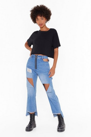 Womens Blue Ain't No Damsel in Distressed Denim Jeans