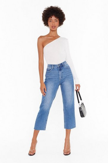 Mid blue Tell Us What You Raw Hem Cropped Jeans