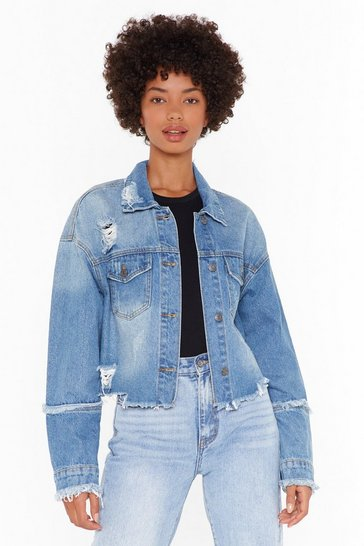 Womens Blue Lookin' For Trouble Distressed Denim Jacket