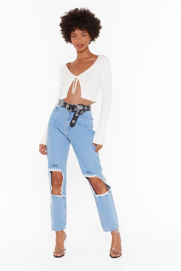 Womens Blue Love Me or Hate Me Distressed Denim Jeans