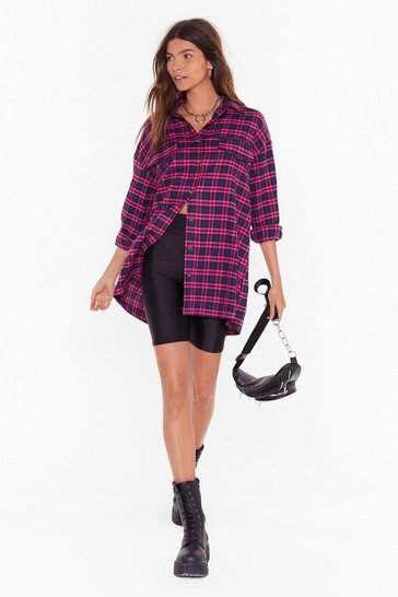 Womens Pink Then Square Was You Oversized Check Shirt