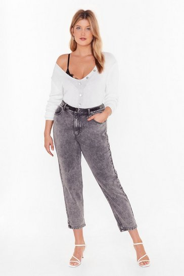 Womens Washed black Wash 'Em Go Acid Wash Mom Jeans