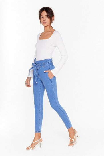 Womens Blue Wash Over Me Paperbag Sraight-Leg Jeans