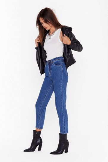 Womens Blue Mom Would Approve High-Waisted Denim Jeans