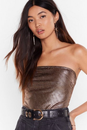 Gold The Stars Still Shine Metallic Strapless Bodysuit