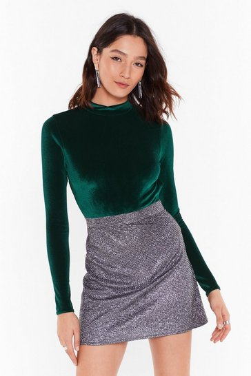 Womens Green Smooth On Fast Velvet Cut-Out Bodysuit