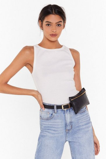 Black Pu slim belt bag