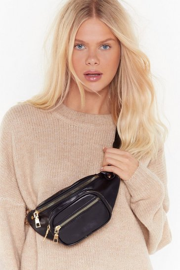 Womens Black WANT It's in the Bag Faux Leather Bum Bag