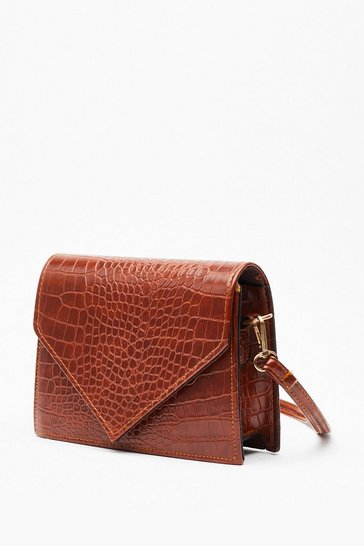Womens Tan WANT Hell Bent Faux Leather Croc Crossbody Bag