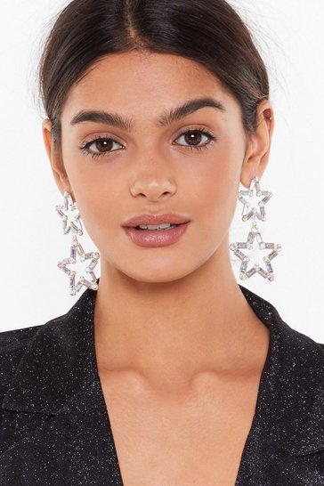 Womens Silver As Star as We Know Embellished Drop Earrings