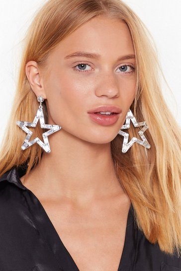 Womens Silver Aim For the Stars Diamante Drop Earrings