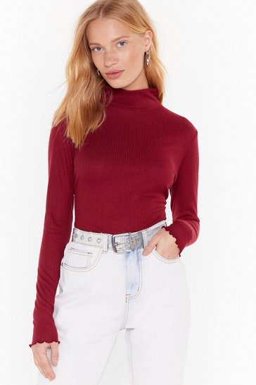 Womens Wine Frill the Lights Go Down Ribbed High-Neck Top