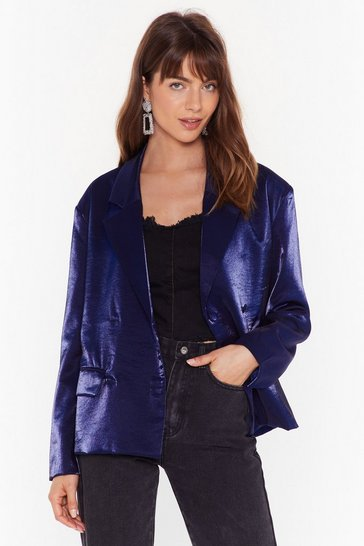 Blazer oversize effet brillant Attention aux yeux, Blue