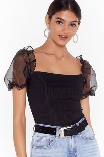 Black Organza Puff Sleeve Top with Square Neckline