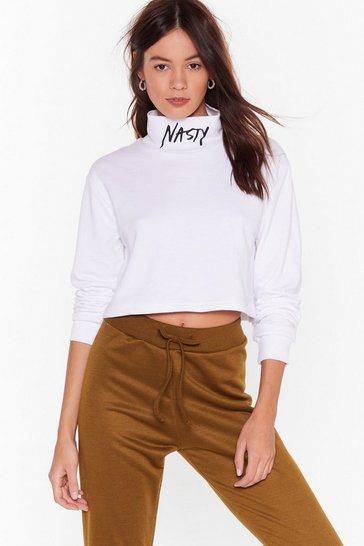 White Nasty Gals You Heard Turtleneck Sweatshirt