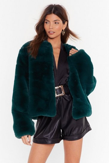 Womens Green Baby It's Cold Outside Faux Fur Cropped Coat