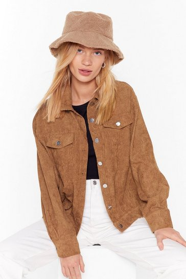 Womens Tan Off the Record-uory Relaxed Button-Down Jacket