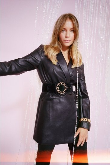 Womens Black Oversize on the Prize Faux Leather Blazer