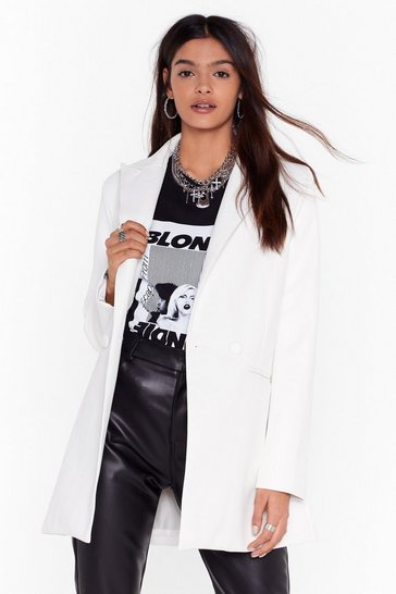 White Oversize on the Prize Faux Leather Blazer