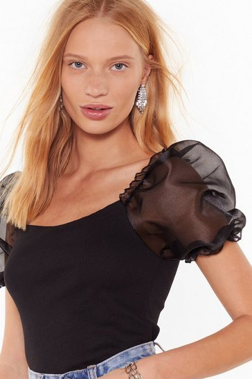 Womens Black No Meshin' With Us Organza Puff Sleeve Top