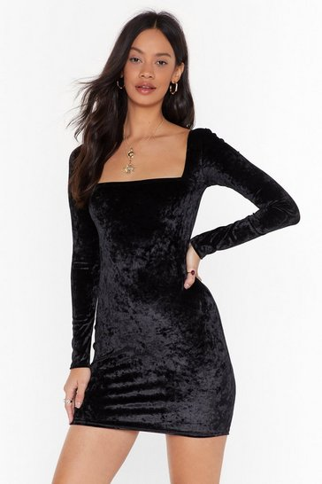 Womens Black Crushin' on You Velvet Mini Dress