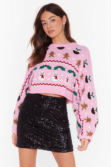 Pink There's Snow-one Like Me Knit Holiday Sweater