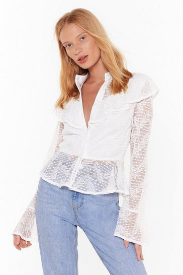 Womens White Tell Me to My Lace Button-Down Ruffle Blouse