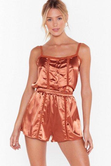 Light brown Don't Wake Me Up Satin Pajama Set