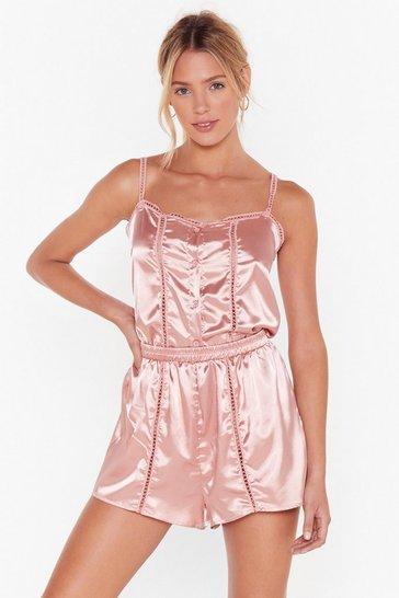 Rose Don't Wake Me Up Satin Pajama Set