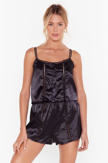Womens Black Don't Wake Me Up Satin Pajama Shorts Set