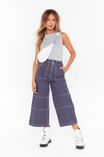 Navy contrast stitch wide leg zip up culottes