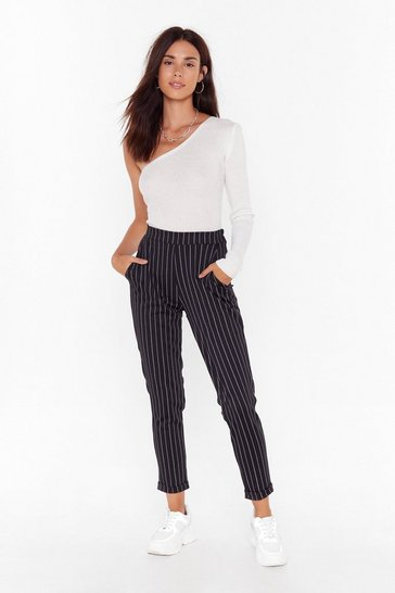 Black On the Stripe Track Pinstripe High-Waisted Pants