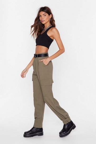 Womens Khaki We Cargo for Long Belted High-Waisted Pants