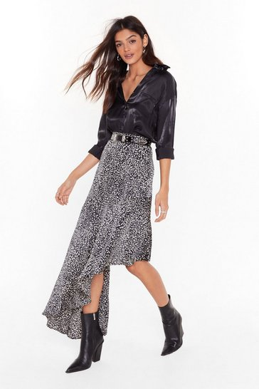 Womens Black Wide Side Leopard Asymmetric Skirt
