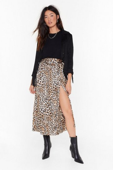 Womens Brown If You've Cat It Leopard Midi Skirt