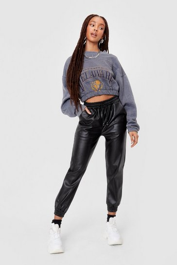 Black Faux Leather Drawstring Sweatpants