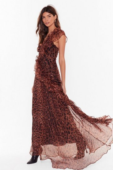 Womens Brown Black Magic Woman Leopard Maxi Dress