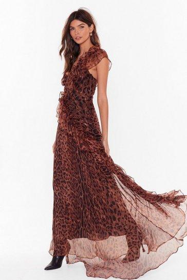 Brown Black Magic Woman Leopard Maxi Dress