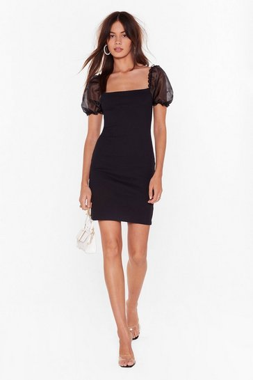 Black Puff Lover Fitted Mini Dress