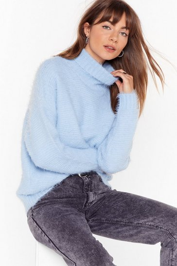Baby blue Ain't My Fault Fluffy Knit Turtleneck Sweater