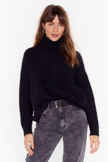 Black Ain't My Fault Fluffy Knit Turtleneck Sweater