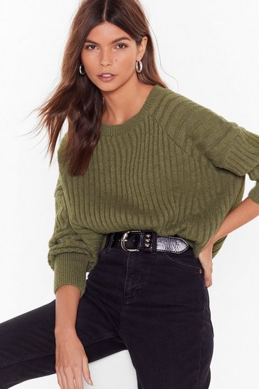 Khaki Knit's About to Get Real Ribbed Sweater