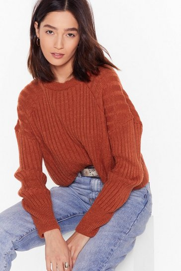 Womens Rust Knit's About to Get Real Ribbed Sweater