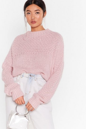 Womens Pink Have Knit All Crew Neck Sweater