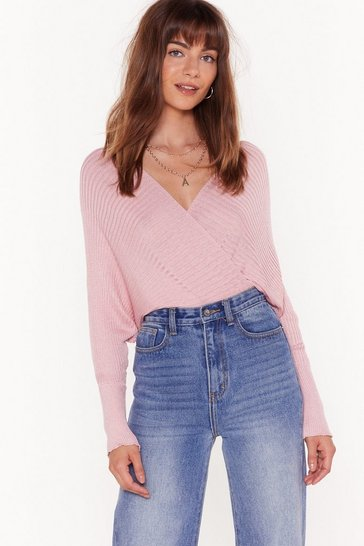 Womens Pink Knit Will Pay Off-the-Shoulder Ribbed Sweater