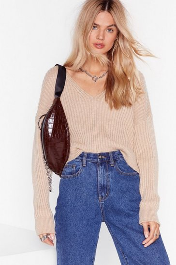 Stone Knit Feels So Good Ribbed V-Neck Sweater